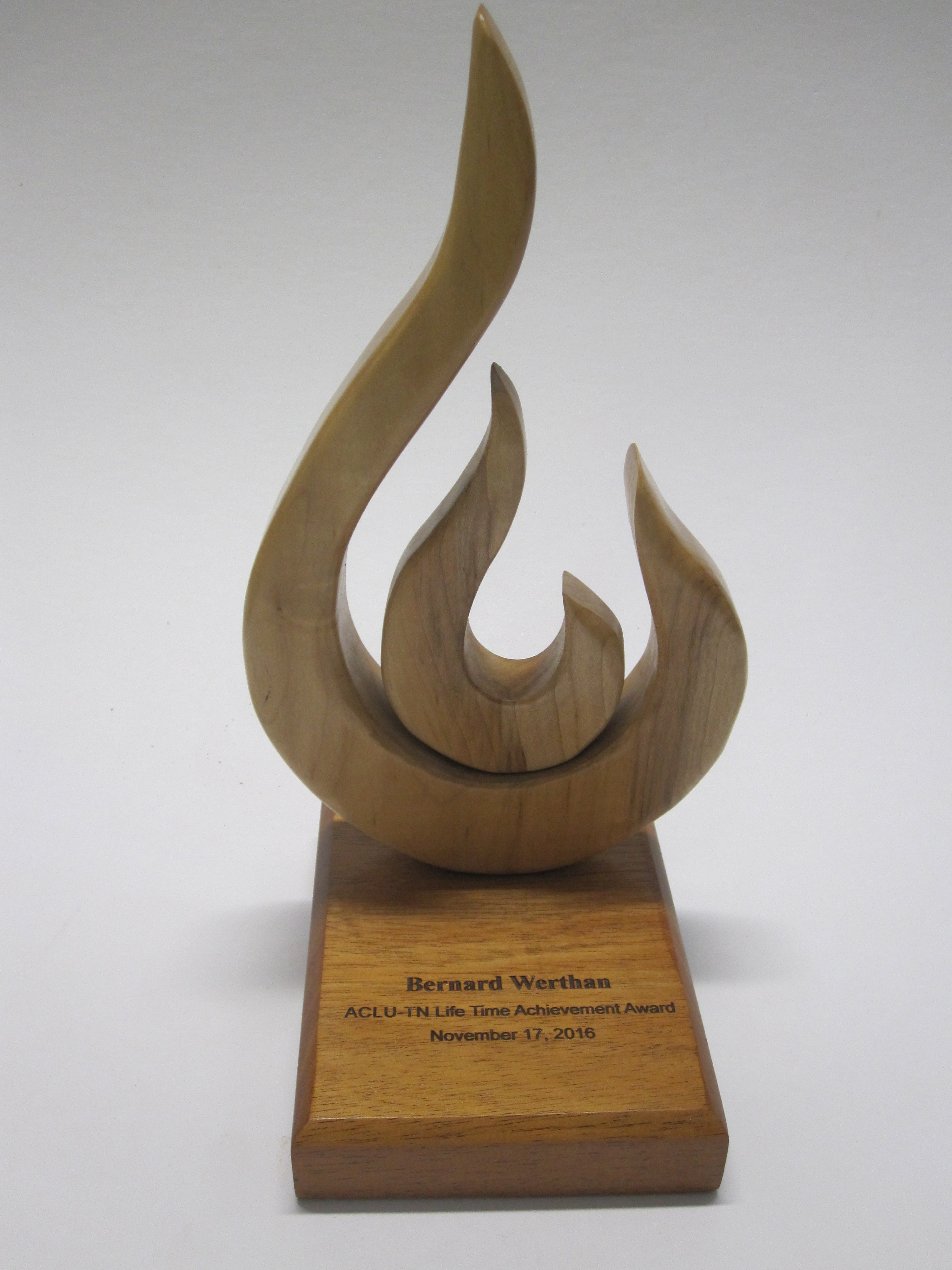 Pat designed and made the United Nations Awards in 2015 and 2016. This one went to President Obama in 2016. It is made from Black and White Ebony and has corian in the base also. Awards similar to these are in the $350-$500 range.