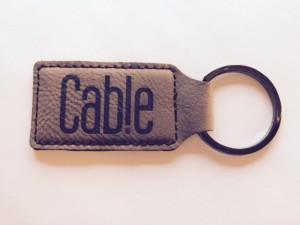 Leatherette engraved key ring