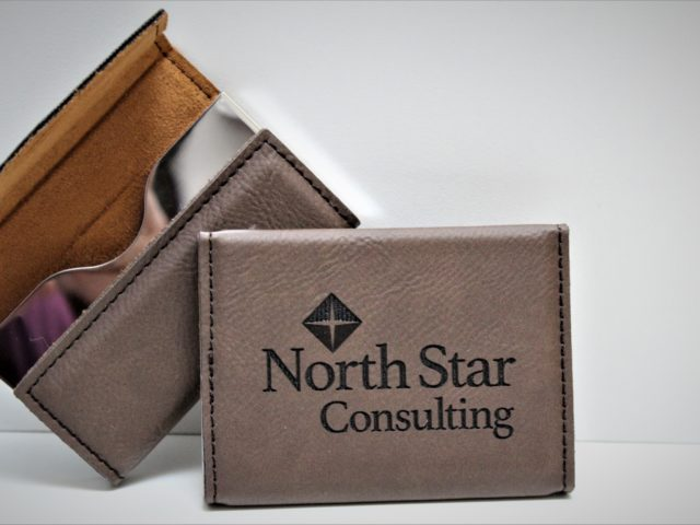 Leatherette engraved business card holders