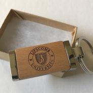 Engraved metal/wood key ring